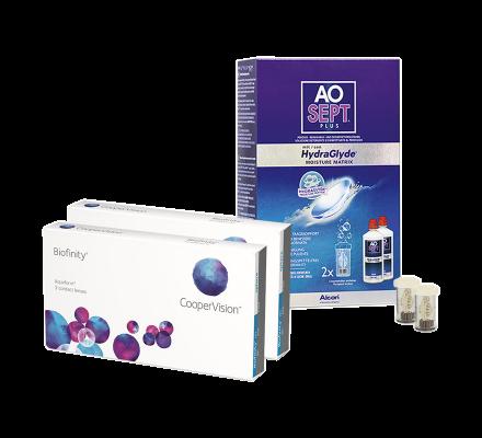 Sparset: Biofinity - 3 und AO Sept Plus HydraGlyde
