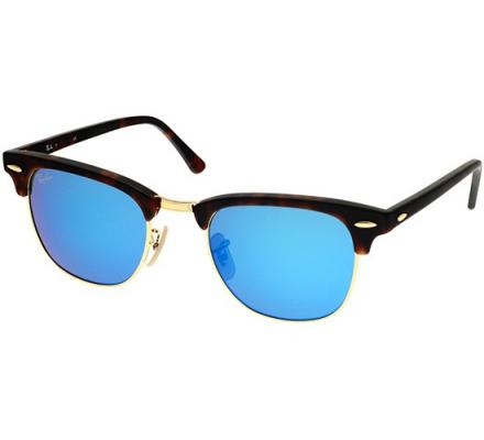 rb3016 49 clubmaster  Sunglasses - Ray-Ban Clubmaster RB3016 - 114517 Grey Mirror Blue ...