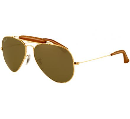 Ray-Ban Outdoorsman 58-14 RB3422Q 001/M9 Arista/Insert Light Brown Leather Polarized