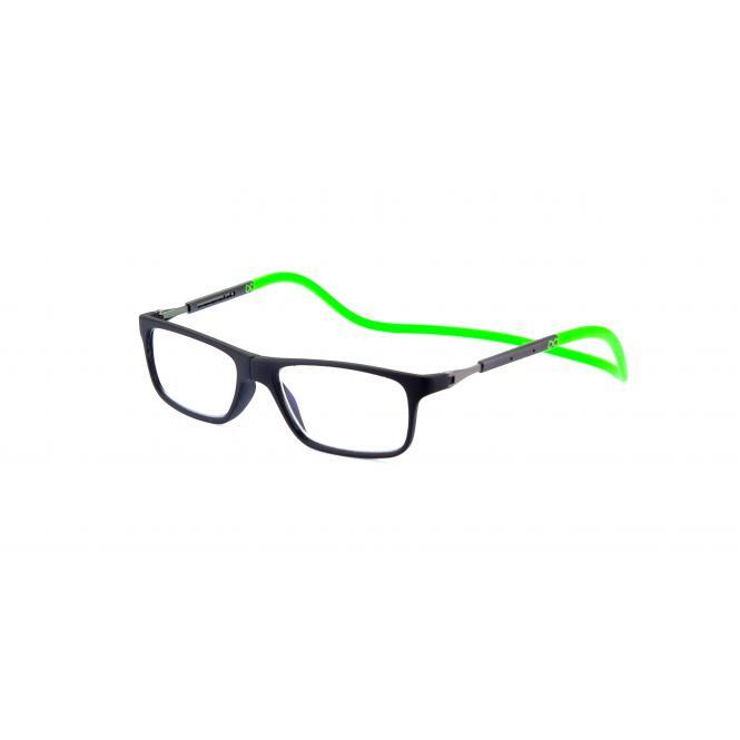 Click Slastik Llevant Magnet Lesebrille - Black/Green 02LS
