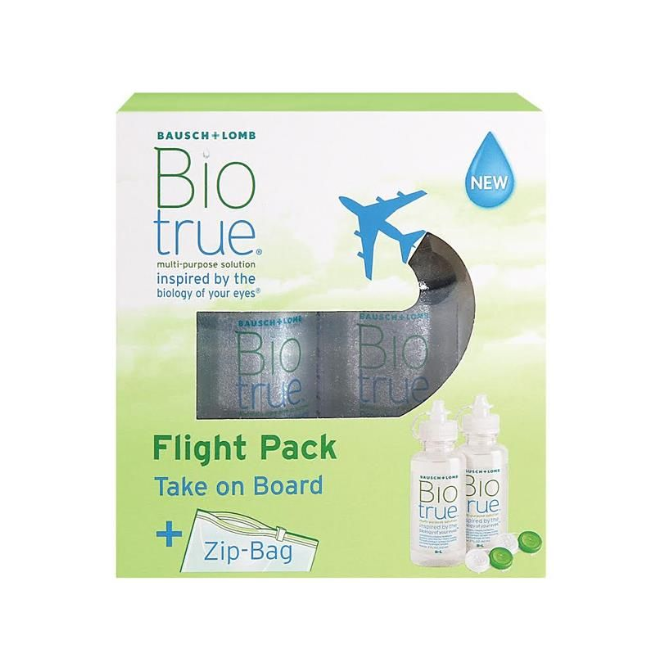 Biotrue All-in-one Flight-Pack - 2 x 60ml & Behälter