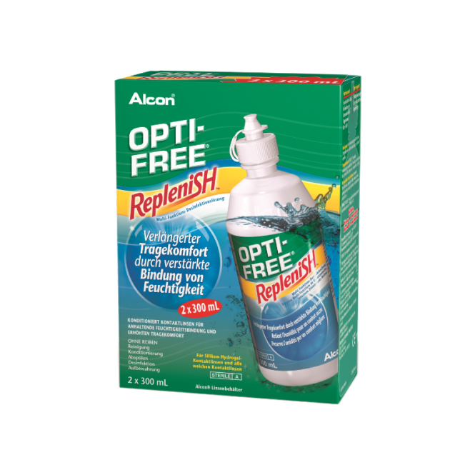 OptiFree RepleniSH ALCON Doppelpack 2x300ml & 2 Behälter